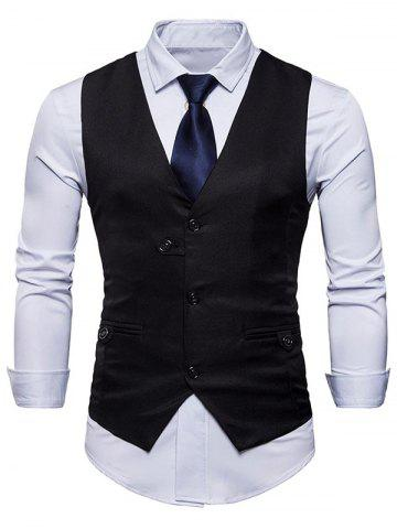 Outfit Single Breasted V Neck Plain Waistcoat