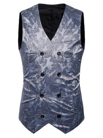 Cheap V Neck Double Breasted Paisley Waistcoat