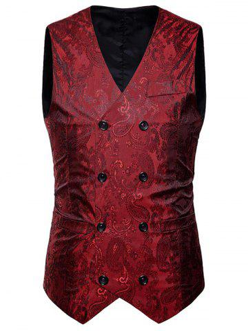 Unique V Neck Double Breasted Paisley Waistcoat