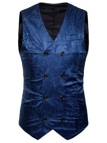 Affordable V Neck Double Breasted Paisley Waistcoat
