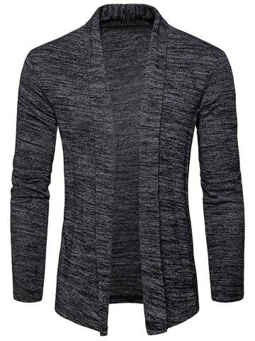 Cheap Shawl Collar Space Dye Open Front Cardigan