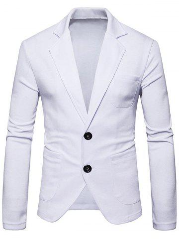 Chic Single Breasted Lapel Collar Cotton Blend Blazer
