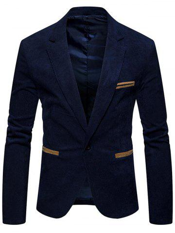 Cheap Lapel Collar One Button Corduroy Blazer
