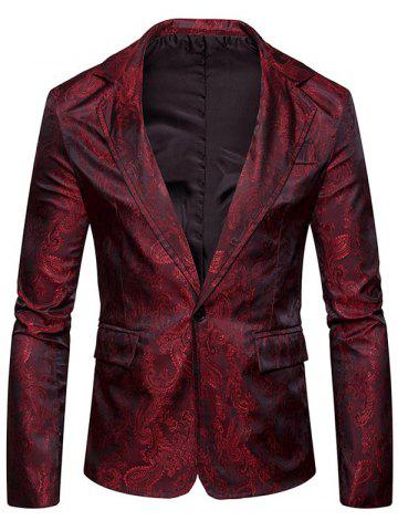 Unique Vintage Paisley Pattern One Button Blazer