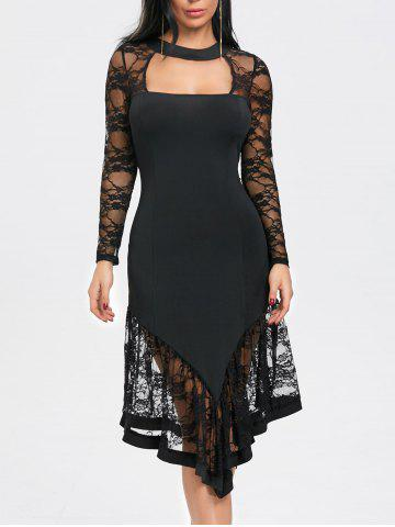 Buy Cut Out Lace Panel Asymmetrical Club Dress