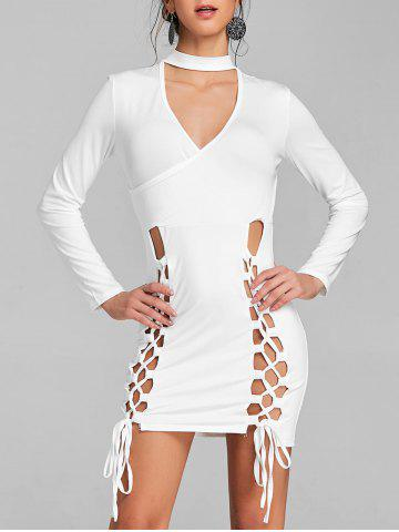 Best Surplice Neck Lace Up Choker Dress