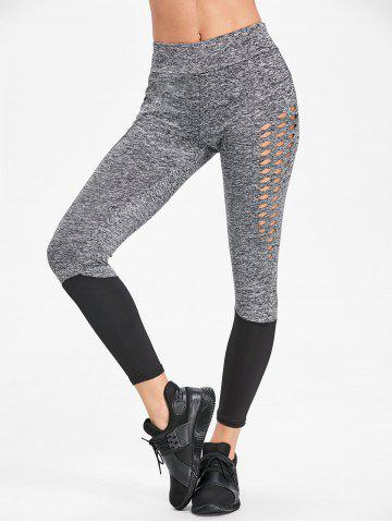 Cheap Two Tone Heather Hollow Out Workout Leggings