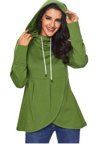 Chic Pullover Drawstring Overlap Hoodie