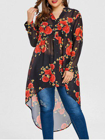 Hot Valentine Rose Print Plus Size High Low Blouse
