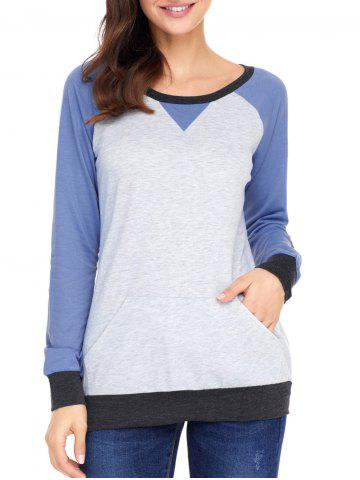 Chic Elbow Patch Color Block Sweatshirt