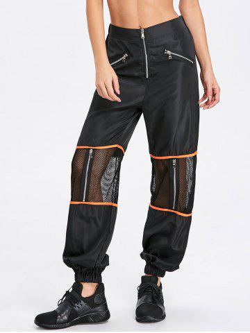 Fancy Zipper Fly Mesh Insert Pants