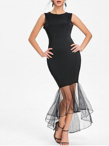 Cheap Sleeveless Mesh Panel Mermaid Bodycon Dress