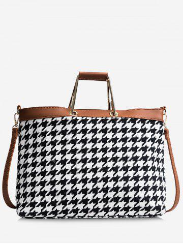 Fashion Contasting Color Checked Tote Bag