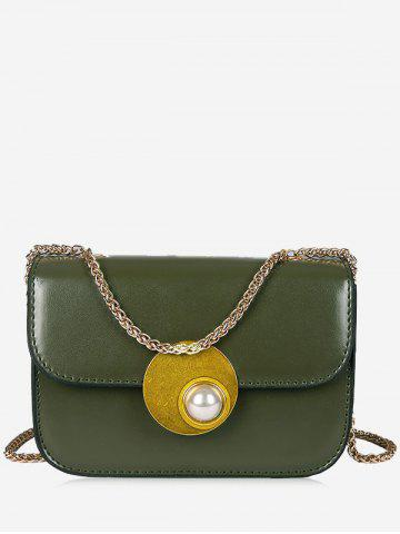 Outfits Flap Faux Pearl Chain Crossbody Bag