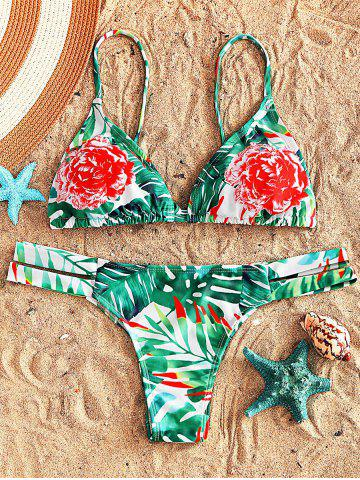 Trendy Floral Strappy String Bikini Set