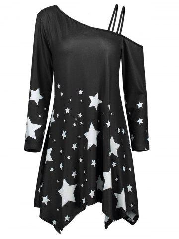 Chic Skew Collar Asymmetric Star Print Dress