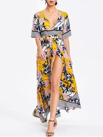 Affordable Bohemian Surplice Printed Maxi Slit Dress