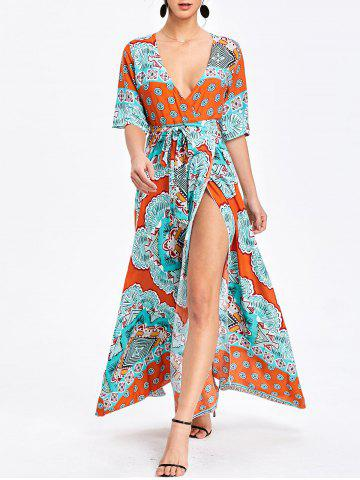 Fancy Bohemian Surplice Printed Maxi Slit Dress
