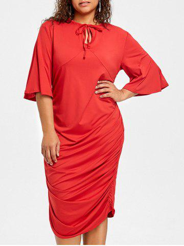 Red 3xl Plus Size Ruched Keyhole Bodycon Dress Rosegal