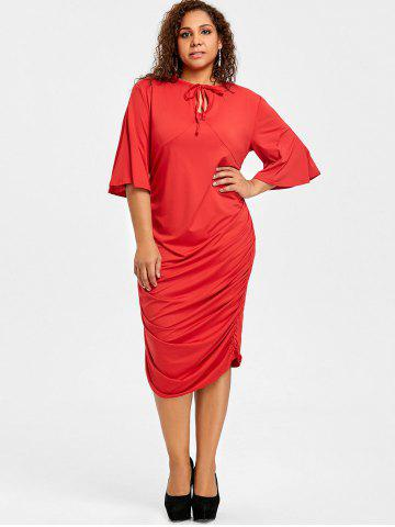 Plus Size Ruched Keyhole Bodycon Dress