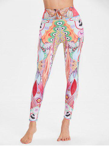 Unique Ethnic Flower Pattern Workout Leggings