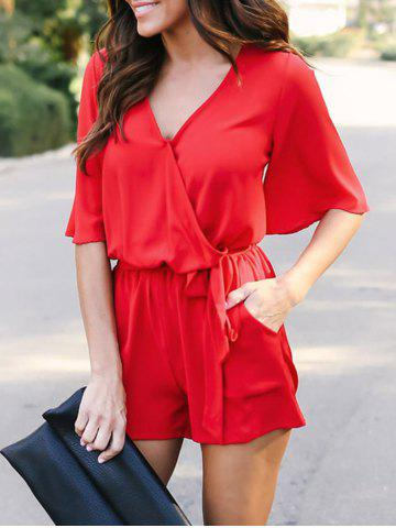 Fancy V Neck Chiffon Surplice Romper