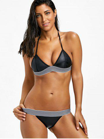 Halter Low Waist Stripe Trim Bikini Set