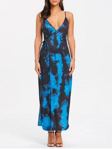 Cheap Spaghetti Strap Tie Dyed Print Maxi Wrap Dress