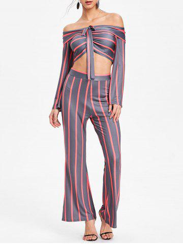 Stripe Crop Top and Wide Leg Pants - RED - M