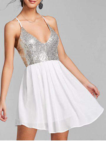 Online Sequin Backless Chiffon Cami Dress