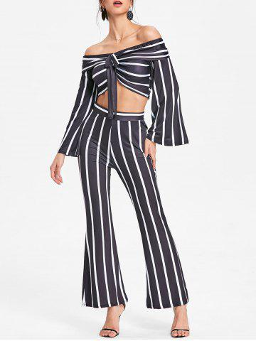 Affordable Stripe Crop Top and Wide Leg Pants