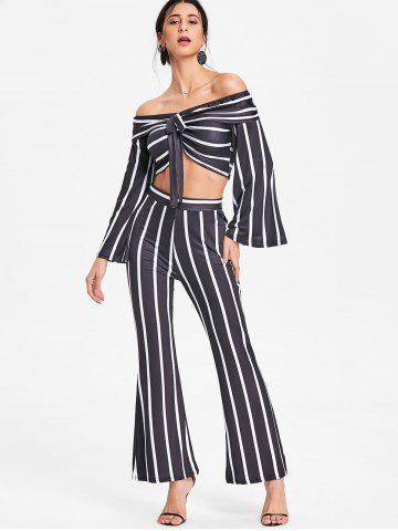 Stripe Crop Top and Wide Leg Pants