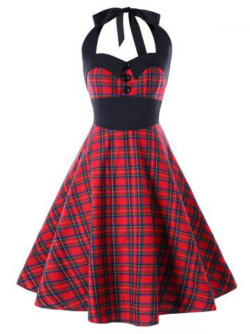 Latest Plus Size Plaid Halter Party Pin Up Dress