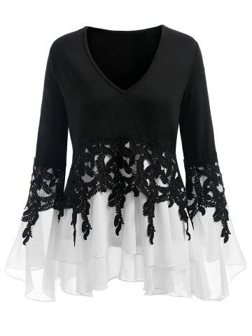 f720497e56d52a Black Long Sleeve Chiffon Blouse - Free Shipping, Discount And Cheap ...