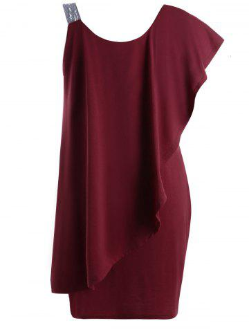 Plus Size One Shoulder Flounce Dress - WINE RED - XL