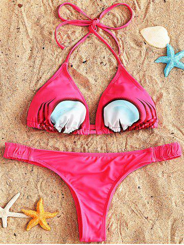 String Bikini and Thong Swimsuit - ROSE RED - 2XL