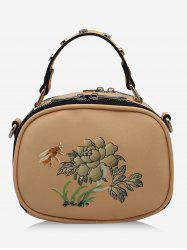 Studs Bee Flower Print Crossbody Bag -