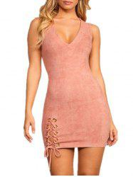 Plunging Neck Frill Lace Up Bodycon Dress -