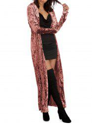 Long Sleeve Velvet Duster Coat -