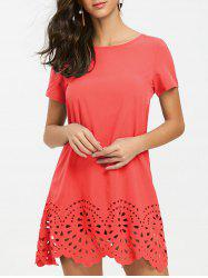 Hollow Out Hemline Short Sleeve Tee Dress -