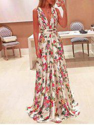 Plunging Neck Floral Maxi Dress -