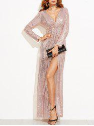 Slit Plunge Sequin Dress -