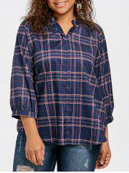 Плюс Размер Raglan Sleeve Plaid Blouse -
