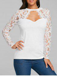 Lace Panel Cut Out Long Sleeve T-shirt -