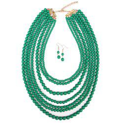 Multi-layered Beads Necklace Earring Jewelry Set -