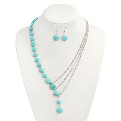 Faux Turquoise Round Earring and Necklace Set -