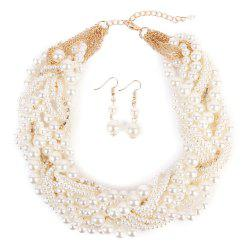 Chunky Faux Pearl Necklace and Earring Set -