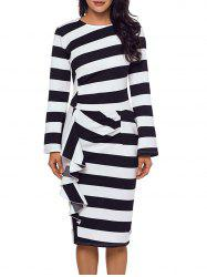 Ruffle Stripe Long Sleeve Dress -