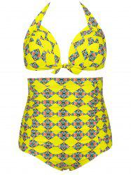Plus Size High Waist Print Bikini Swimsuit -