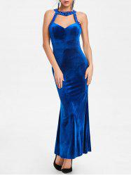 Beaded Backless Bodycon Maxi Party Dress -